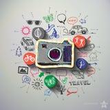 Podróż kolaż z ikony tłem Obraz Stock