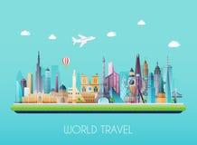 Podróż na światowym pojęciu Turystyka Płaska wektorowa ilustracja ilustracja wektor