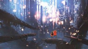 Podróż nowy świat z abstrakcjonistycznym miastem ilustracji