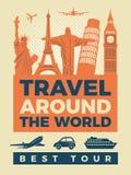 Podróż plakat z ilustracjami sławni punkty zwrotni royalty ilustracja