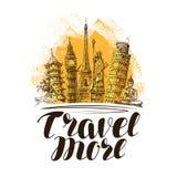 Podróż, podróż sztandar Sławni Światowi punkty zwrotni Nakreślenie wektoru ilustracja royalty ilustracja