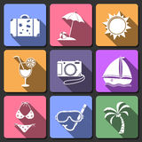 Podróż projekta płaskie ikony ustawiać Fotografia Stock