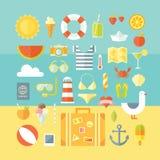 Podróż projekta urlopowy nowożytny stylowy płaski set Obraz Stock