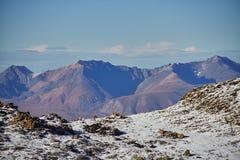 Podróż przez Altai gór Aktru Wycieczkować śnieżni szczyty Altai góry Przetrwanie w srogich warunkach, piękna natura Zdjęcia Stock