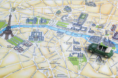 Podróż przez Europe mapa Paris obraz stock