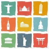 Podróż punktów zwrotnych ikony set Obrazy Stock