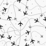 Podróż samolot dookoła świata wysyła bezszwowego wzór, tło, Niekończący się tekstura może używać dla tapety royalty ilustracja