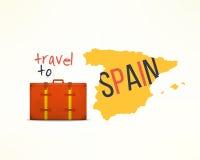 Podróż Spain pojęcie Hiszpański podróżnika tło Espana mapa z podróżną walizką Zdjęcia Stock