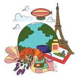 Podróż stagecoach w Paryż royalty ilustracja