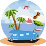 Podróż urlopowy temat, plaża i ocean, suniemy ilustracja wektor