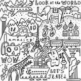 Podróż ustawiająca z literowaniem Ręka rysująca wektorowa ilustracja Doodle styl Popularni światowi symbole turystyka i podróżowa royalty ilustracja