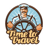 Podróż wektoru logo podróż, żeglarz, statku kapitanu ikona ilustracja wektor