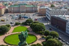 Podróż Widok świętego Isaac ` s kwadrat od StIsaac ` s katedry w St Petersburg, Rosja Obraz Royalty Free