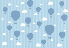 Podróż wzór balony i chmury Tapeta dla chłopiec royalty ilustracja
