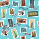 Podróż znaczków pocztowych Bezszwowy wzór royalty ilustracja