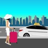 Podróżna kobieta iść taxi z tramwajem Wektorowy projekt, EPS 10 ilustracji
