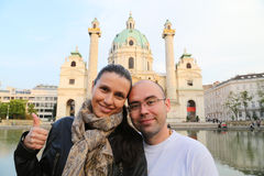 Podróżna turystyczna para Wiedeń obrazy royalty free