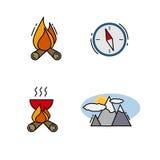 Podróżne ikony dla sieci App i wiszącej ozdoby Fotografia Stock