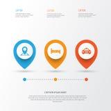 Podróżne ikony Ustawiać Kolekcja lokacja, samochód, Doss I Inni elementy, Także Zawiera symbole Tak jak Doss, Kip, szpilka Zdjęcia Royalty Free