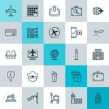 Podróżne ikony Ustawiać Kolekcja Płaski rozkład, walizka, Pilotowi elementy, Kapeluszowi I Inni Także Zawiera symbole Tak jak Obraz Royalty Free