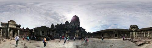 Podróżnicy Angkor Wat Kambodża Fotografia Stock