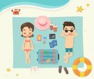 Podróżnicy na plaży Zdjęcia Royalty Free