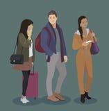 Podróżnik ikony set Mężczyzna i kobiety z bagażem, mądrze telefon, bilety Ludzie w lotnisku, pociąg, autobus, statek podróż Para ilustracja wektor