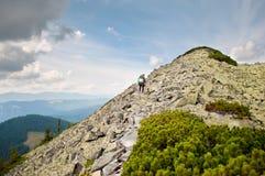Podróżnik prowadzi halny wierzchołek na kamiennej ścieżce Obraz Stock