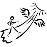 Podróżnik unosi się niebo, oskrzydlona ścieżka, krzyż i s, ilustracja wektor