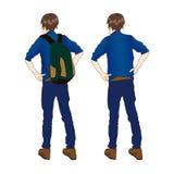 Podróżnika mężczyzna w drelichów ubraniach Obraca Z powrotem Stać z Zielonym plecakiem Na białym tle ilustracja wektor