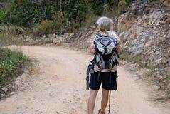 podróżnika wycieczkowicza mężczyzna wycieczkuje na górze z plecakiem turysty bac Zdjęcia Royalty Free