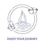 Podróżny horyzontalny sztandar z żaglówką na fala, koktajlach i swimsuit w okręgu, royalty ilustracja