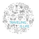 Podróżny horyzontalny sztandar z palmą na wyspie, samolot, żaglówka, plaża, urlopowe ikony royalty ilustracja
