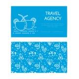 Podróżny horyzontalny sztandar z plażowymi koktajlami Bezszwowy wzór z morze odpoczynku akcesoriami dla wycieczki, turystyka, age Obrazy Stock