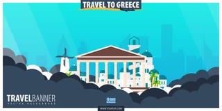 podróżować greece Podróż i turystyka plakat Wektorowy płaski illustr Fotografia Royalty Free