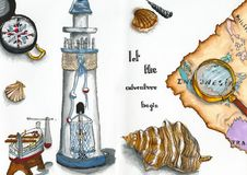 Podróżujący i andventures mieszanka malująca markierami Obraz Royalty Free