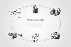 Podróżujący z zwierzętami domowymi - pies w torbie, przewoźnik, weterynaryjny zestaw, migdali bilet i bawi się wektorowego pojęci ilustracja wektor