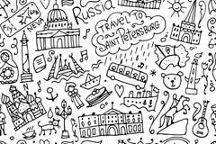 Podróżuje święty Petersburg, bezszwowy wzór dla twój projekta ilustracja wektor