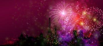Podróżuje świat, fajerwerku nowy rok na ziemskim pojęciu Zdjęcie Stock