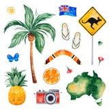 Podróżuje akwarela bezszwowego wzór z drzewkiem palmowym, ananas, kmieć deska, owoc, kamera royalty ilustracja