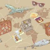 Podróżuje bezszwowego wielostrzałowego wzór royalty ilustracja