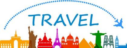 Podróżuje, cudy świat, punkty zwrotni - ilustracja wektor