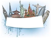Podróżuje cudy światowy sztandar ilustracja wektor