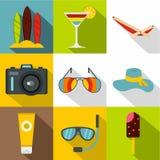 Podróżuje denne ikony ustawiać, mieszkanie styl Obraz Stock