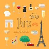 Podróżuje Francja, Paryskie wektorowe ikony ustawiać Fotografia Stock