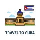 Podróżuje Kuba plakat z capitol flaga państowowa i budynkiem Fotografia Royalty Free