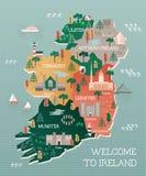 Podróżuje mapę Irlandia z punktami zwrotnymi i miastami ilustracja wektor