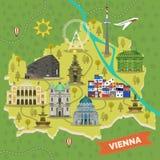Podróżuje mapę Wiedeń, Austria z punktami zwrotnymi royalty ilustracja