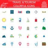 Podróżuje płaskiego ikona set, podróż symbole kolekcja, logo ilustracje, transport wypełniający na białym tle Zdjęcie Royalty Free