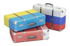 Podróżuje pojęcie, walizki z flaga Rosja, Ukraina i Bela, Zdjęcia Stock